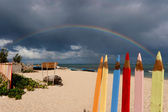 Empty beach in Madagascar with a rainbow — Stock Photo