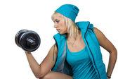 Dambıl ile atletik kız — Stok fotoğraf