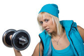 Athletic girl with dumbbells — Stock Photo