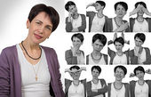Woman with short hair - grimacing — Stock Photo