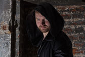 Scary man with hood — Stock Photo