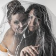 Happy Girlfriends under veil — Stock Photo