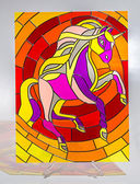 Stained glass - horse — Stockfoto