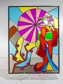 Stained glass - woman with umbrella — Stock Photo