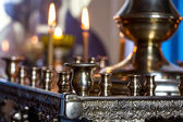 Candlesticks in church — 图库照片