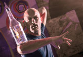 Acrobatic Barman in Action - Freestyle american Bartender — Stock Photo