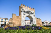 Arch of Augustus in the modern urban Context - Rimini, Italy — Stock Photo