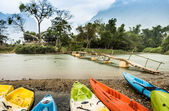 Kayaking on Nam Song river in Vang Vieng, Laos — Stock Photo