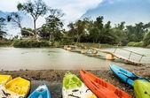 Kayaking on Nam Song river in Vang Vieng, Laos — Stock Photo