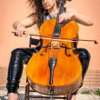 Stock Photo: Dark Style Womwith Violoncello