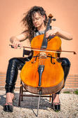 Dark Style Woman with Violoncello — Stock Photo