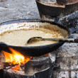 Frying Pan with sauce - Street food in Laos — Stockfoto