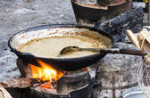 Frying Pan with sauce - Street food in Laos — Stock Photo