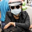 Stock Photo: Unrecognizable Person with Smog Face Mask