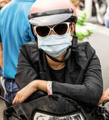 Unrecognizable Person with a Smog Face Mask — Stock Photo