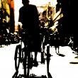 Silhouette of a Man on trycycle — Stock Photo