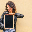 Sensual fashion Girl with empty small Blackboard — Stock Photo