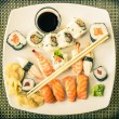Vintage Plate of Sushi — Stock Photo