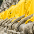 Perspective of Buddha Statues - Wat Yai Chai Mongkol, Ayutthaya — Stock Photo