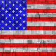 American Flag on a wooden Background — Stock Photo