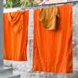 Stock Photo: Washed and hung Clothes of buddhist Monks