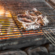 Grilled Squid on Fire — Stock Photo