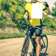 Amateur Cyclist with blank Sheet — Stock Photo