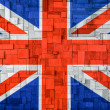 Stock Photo: Uk Flag on a wooden Background