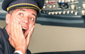 Panic in the airplane with pilot screaming for sudden failure — Stock Photo