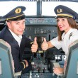 Young Pilots in Flight Simulator — Stock Photo