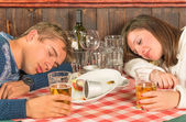 Couple sleeping after a huge alcoholic Dinner — Stock Photo