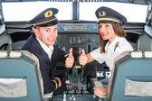 Young Pilots in Flight Simulator — Stock Photo