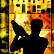 Silhouette of a Classic Barman — Foto Stock