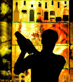 Silhouette of a Classic Barman — Stock Photo