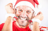 Desperate Handcuffed Santa Man — Stock Photo