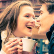 Young Couple lovely enjoying a cup of Coffee — Stock Photo #36226351