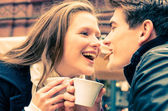 Young Couple lovely enjoying a cup of Coffee — Stock Photo
