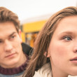 Couple during break up - Sad young woman — Stock Photo #36480541