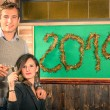 Couple of Lovers celebrating New Year 2014 — Foto Stock