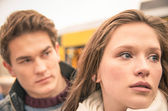 Couple during break up - Sad young woman — Stock Photo