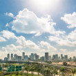 Stock Photo: Miami skyline and highways daytime