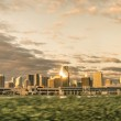 Miami skyline at sunrise from a speeding car — Stock Photo #38199579
