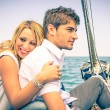 图库照片: Couple in Love - Honeymoon on sailing Boat