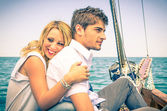 Couple in Love - Honeymoon on the sailing Boat — Stock Photo
