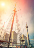 Toronto downtown from the Harbourfront on Ontario Lake — Stock Photo