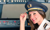 Young female Pilot ready for Takeoff — Stock Photo