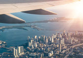 Miami skyline from the airplane — Stock Photo