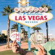 Las Vegas Sign - Poker Cards and Money — Stock Photo