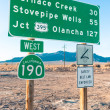 Road sign in the Death Valley - Highway West 190 — Stock Photo