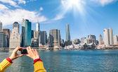 Imagen del horizonte de nueva york desde río hudson - c digital de bolsillo — Foto de Stock